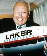Freddie Laker with a model jet
