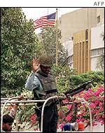 Guard outside US consulate in Karachi, Pakistan