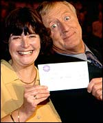 Tarrant with winner of Who Wants To Be A Millionaire?