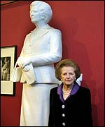 Baroness Thatcher stands with the 8ft sculpture at its unveiling