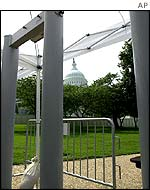 Metal detectors are in place on Capitol Hill