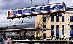 Destroyed train carriage at the Potters Bar train station