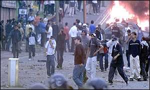 Youths on the streets of Bradford in July 2001
