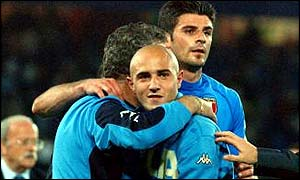 Maccarone (centre) has played for Italy at full level