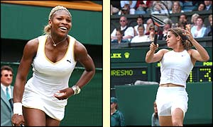 Serena Williams faces Amelie Mauresmo in the semi-finals of Wimbledon