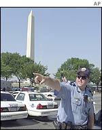 Police redirect traffic near the Washington Monument