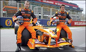 Arrows drivers Enrique Bernoldi of Brazil and Heinz-Harald Frentzen of Germany