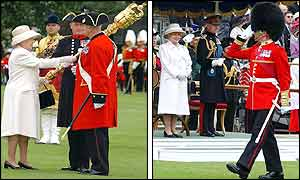 The Queen presents the Sovereigns Mace (L), March past for Queen and Duke of Edinburgh (R)