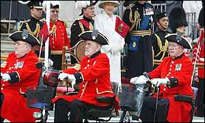 Chelsea Pensioners during the Royal Parade at Buckingham Palace