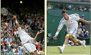 Henman struggles at the start of the second set before the rain fell