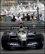 Ralf Schumacher drives his Williams at the Monaco Grand Prix
