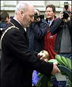 Sinn Fein's Alex Maskey laid a laurel wreath at the Cenotaph