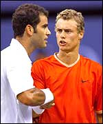 Lleyton Hewitt is congratulated by Pete Sampras after last year's US Open final