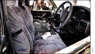 Bloodied seats inside the ambushed car