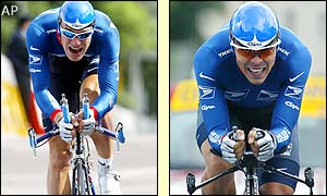 Luxemborg's Benoit Joachim (left) and Victor Hugo Pena of Colombia get their 2002 Tour de France campaigns under way