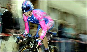 Lampre rider Raimondas Rumsas is three seconds off lthe leading time of Lance Armstrong
