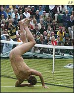A streaker appeared on Centre Court during the first rain delay