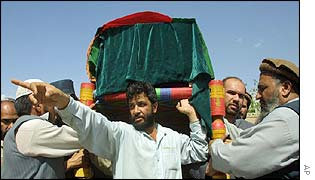 Qadir's relatives carry his coffin
