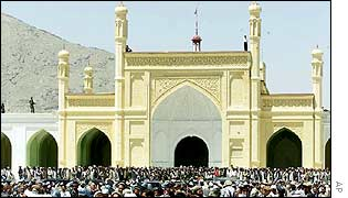 Mourners outside Kabul's Eid Gha mosque