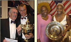 Hewitt meets Ken Rosewall (left) whilst Serena Williams and her mother have the trophy