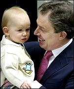 Prime Minister Tony Blair and son Leo