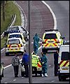 Scene of the shooting on the M6 near wigan