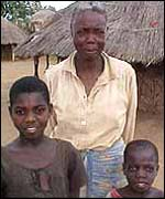 A Mozambican grandmother, who now looks after her two grandchildren