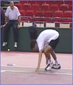 Tim Henman shows his sprinting skills