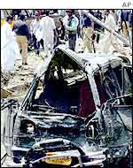 Debris of the consulate bomb attack