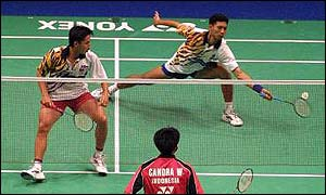 Malaysian badminton players in action last year