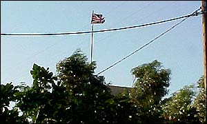 The Union Jack flying over Faliraki