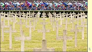 The riders go past the World War One memorial of Verdun-Bevaux