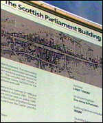 Billboard showing the new parliament building