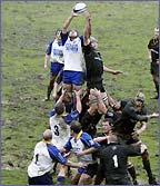 Leeds Tykes tussle in a line out with Newcastle