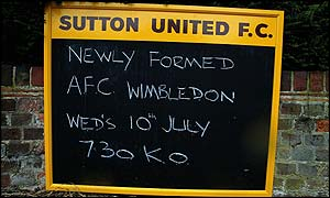 AFC Wimbledon are playing at Sutton United's Gander Green Lane ground