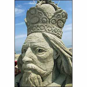 Sand sculpture of Emperor Karl IV