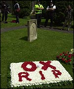Floral tribute outside church