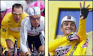 Igor Gonzalez de Galdeano pulls on the yellow jersey after taking the overall lead from Erik Zabel