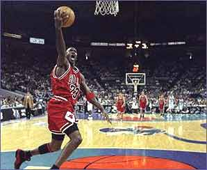 Michael Jordan in familiar mid-air pose