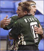 Justin Bishop and Michael Horak celebrate a try
