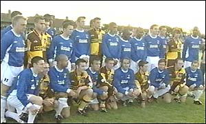 AFC Wimbledon line up before the friendly