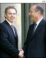 UK Prime Minister Tony Blair and French President Jacques Chirac