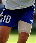 Possibly the most famously strapped thigh of Zinedine Zidane during the 2000 World Cup