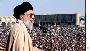 Ayatollah Khamenei addresses a crowd in Isfahan in 2001