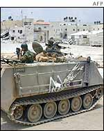 An Israeli tank guarding Arafat's Ramallah headquarters