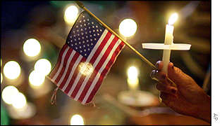 US flag and church candles