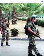 Lebanese soldiers on patrol in Sidon