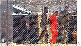 Prisoners in Camp X-Ray, Guantanamo Bay, Cuba