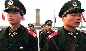 Chinese soldiers on guard