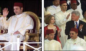 King Mohammed VI  (l) and Bill Clinton and his daughter (r) ( Photographs courtesy of the Associated Press)